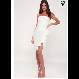 Lulu's Anika white ruffled strapless bodycon dress